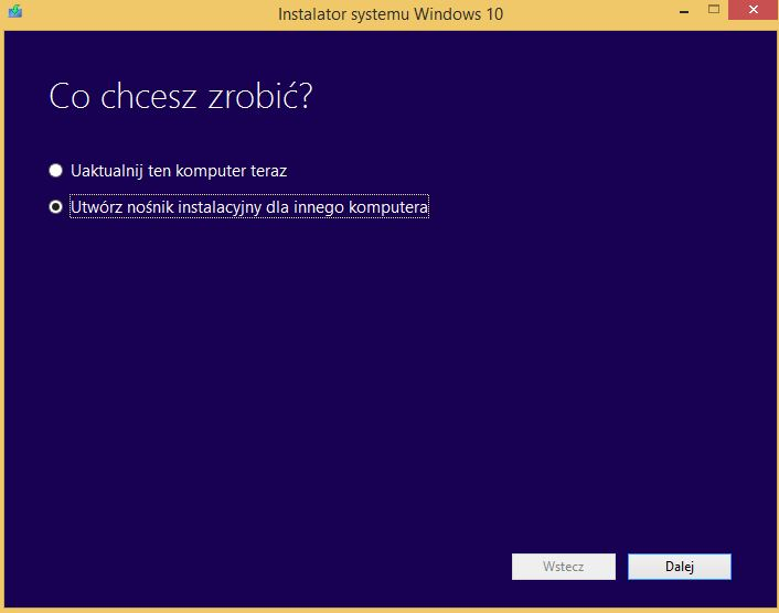 Utwórz nośnik instalacyjny dla innego komputera