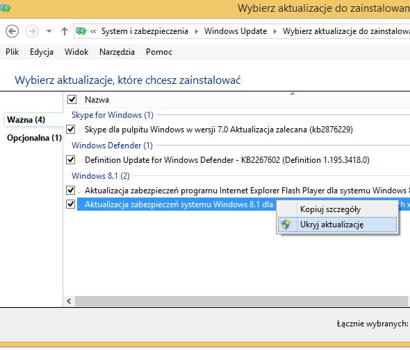 Ukrywamy aktualizację przed Windows Update