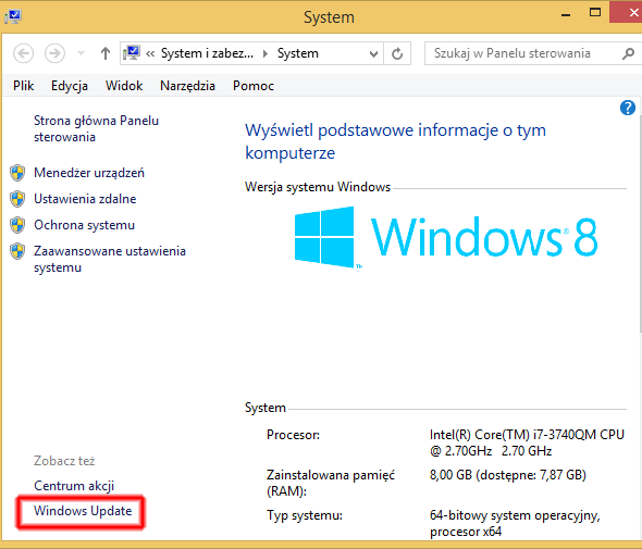 Przechodzimy do usługi Windows Update